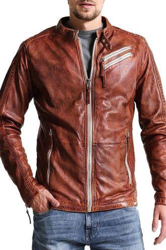 Men Cafe Racer Biker Distressed Brown Leather Jacket
