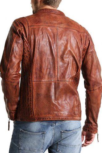 Mens Vintage Biker Style Cafe Racer Distressed Jacket