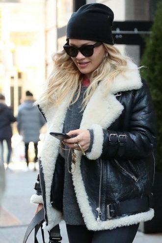 Rita Ora B3 SheepSkin Shearling Bomber Jacket