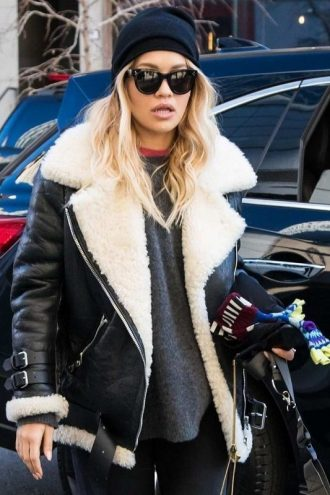 Rita Ora Moto Shearling Jacket