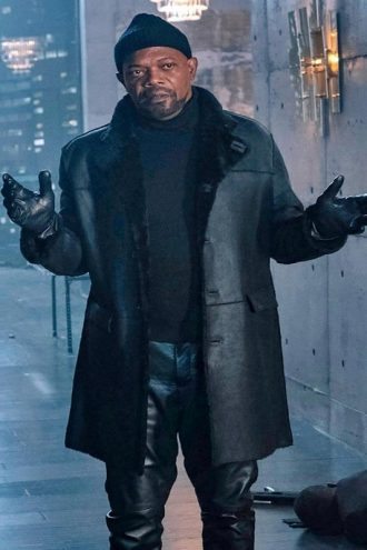 John Shaft II Black Fur Leather Coat