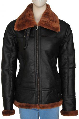 Women's B-3 Detachable Hoodie Shearling Leather Jacket