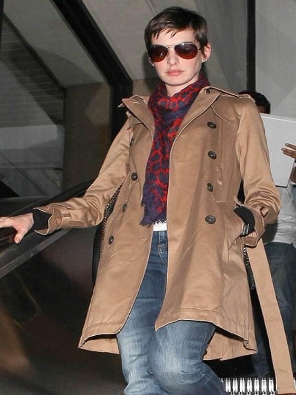 Anne Hathaway Double Breasted Street Style Brown Coat
