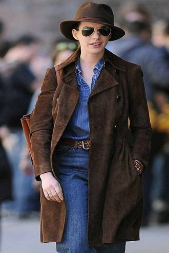 Anne Hathaway Brown Trench Coat