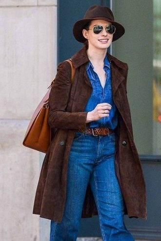 Elegent Anne Hathaway Stylish Brown Leather Coat
