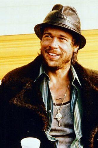 Brad Pitt Snatch Mickey O'Neil Brown Suede Shearling Coat