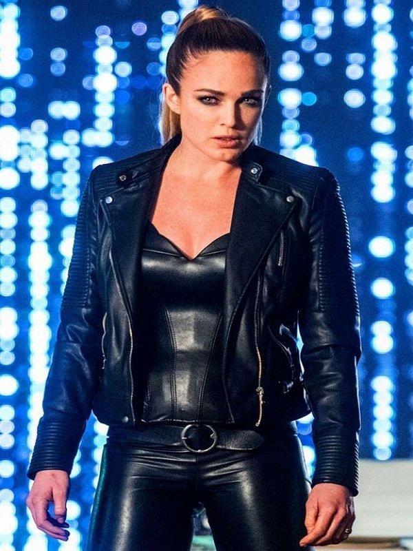 TV Series Sara Lance Black Leather Padded Jacket