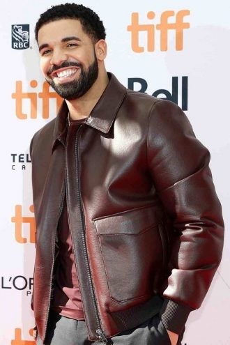Film Festival Drake Parda Burgundy Leather Jacket