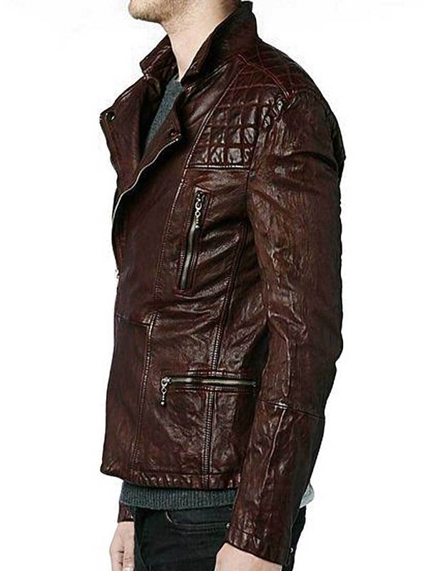 Eddie Redmayne Diamond Quilted Design Leather Jacket