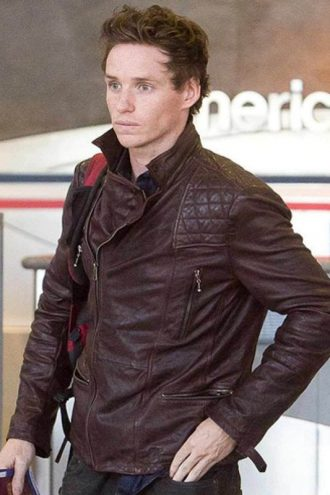 Eddie Redmayne Diamond Quilted Design Brown Jacket