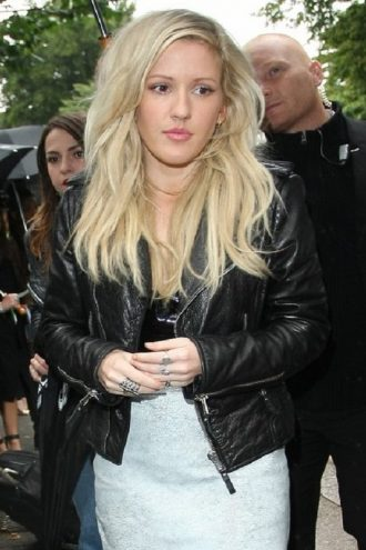 Singer Ellie Goulding Cropped Leather Jacket