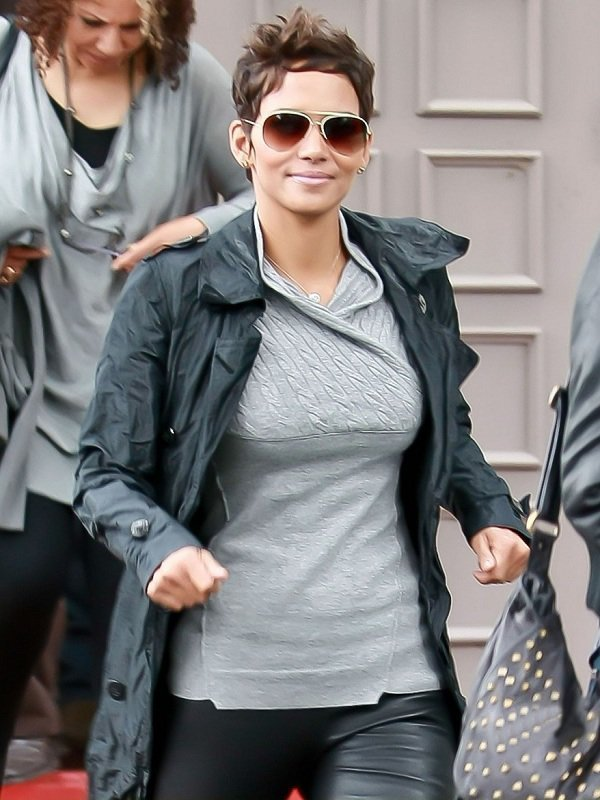 Halle Maria Berry Leather Trench Coat