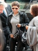 Halle Berry Street Style Leather Trench Coat