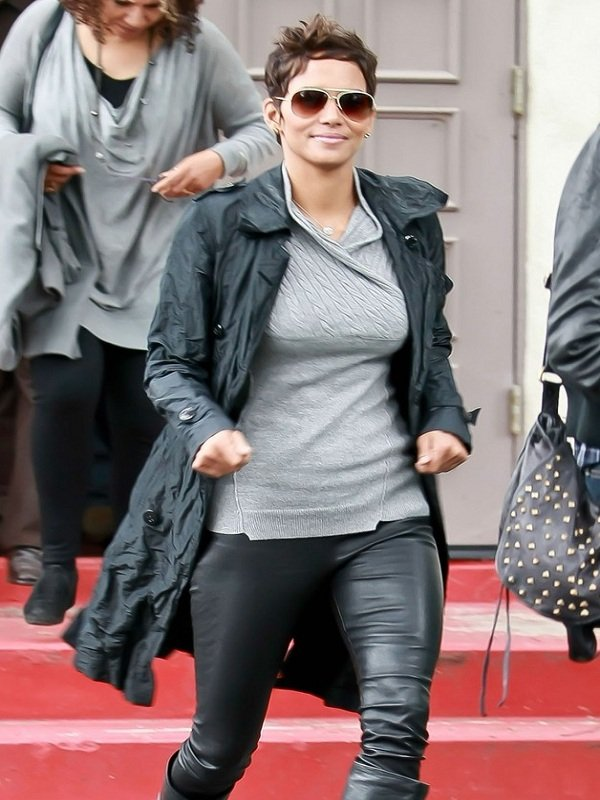 Halle Berry Sylish Leather Trench Coat