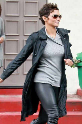Halle Berry Sylish Leather Coat