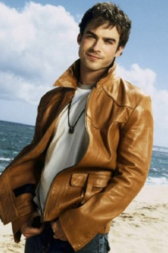 Ian Somerhalder Camel Brown Leather Jacket