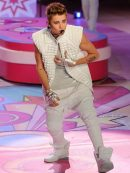 Justin Bieber Elegant Design White Leather Vest