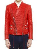 Justin Bieber Red Quilted Leather Jacket