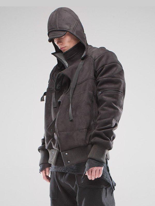 Asymmetrical Removable Hood Jacket