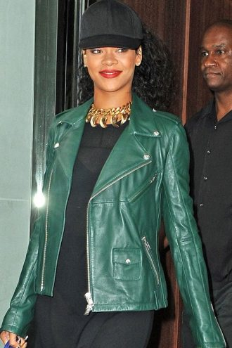 Rihanna Motorcycle Green Leather Jacket