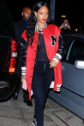 Rihanna At Nightclub Los Angeles Leather Coat