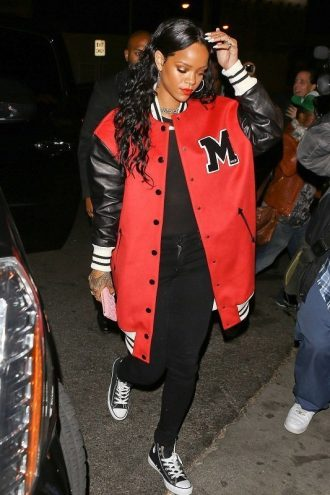 Rihanna At Nightclub Los Angeles M Logo Varsity Coat