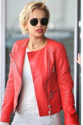 Singer Rita Ora Red Leather Jacket