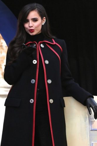 Sofia Carson New York Parade Black Wool Coat