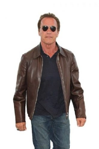 Arnold Schwarzenegge Brown Leather Jacket