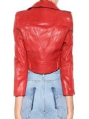 Bebe Rexha Hot Red Leather Jacket