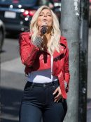 Bebe Rexha Red Leather Jacket
