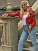 Bebe Rexha Cropped Red Leather Jacket