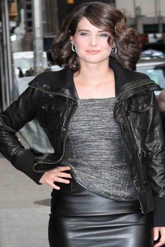 Canadian Actress Cobie Smulders Bomber Black Leather Jacket