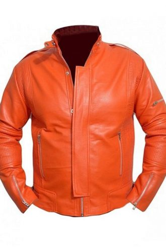 Daft Punk Orange Leather Jacket For Men