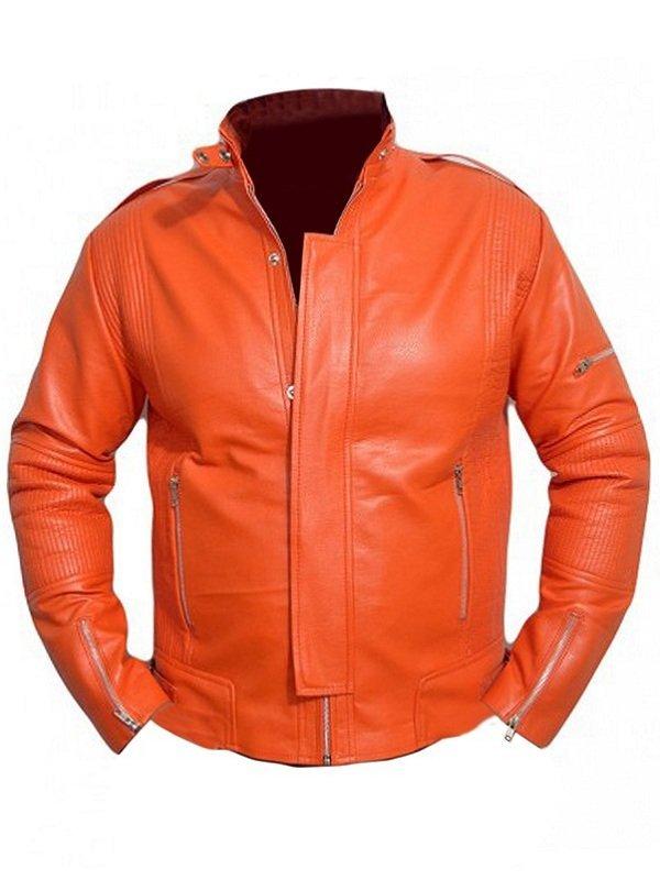 Daft Punk Orange Leather Jacket For Men