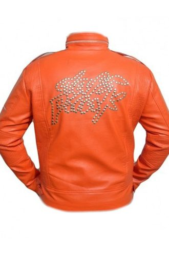 Daft Punk Stylish Orange Leather Jacket