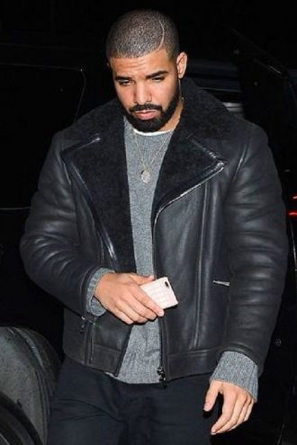 Rapper Drake B3 Shearling Black Leather Jacket