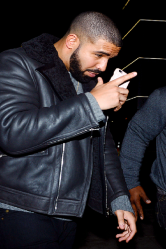 Rapper Drake B3 Bomber Shearling Black Leather Jacket