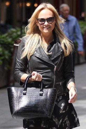 Singer Emma Bunton Black Leather Jacket