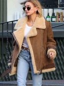 Hailey Rhode Bieber Shearling Suede Brown Bomber Leather Jacket