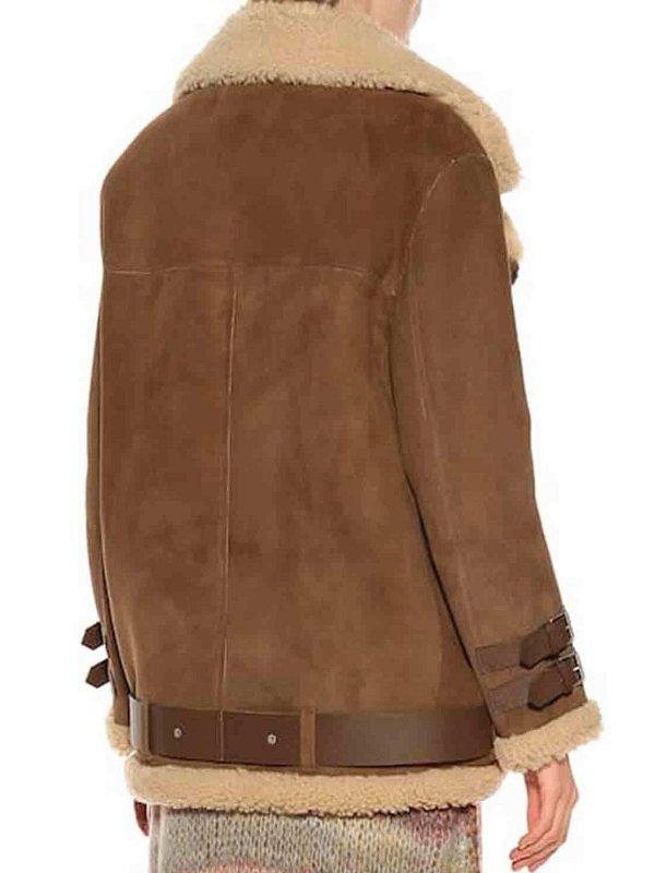 Hailey Rhode Bieber Shearling Bomber Leather Jacket