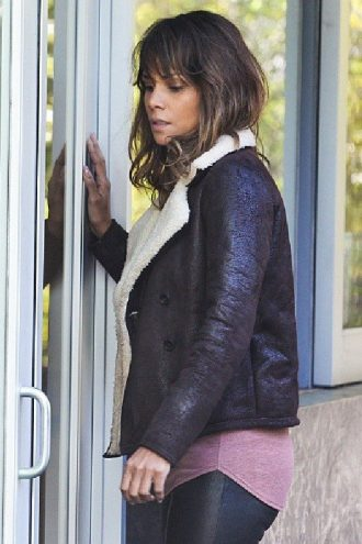 Halle Berry Extant B3 Shearling Leather Jacket