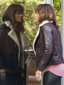 Halle Berry Extant B3 Bomber Shearling Brown Jacket