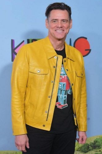 Celebrity Style Jim Carrey Yellow Leather Jacket