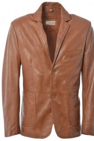 Brown Leather Blazer Jacket mens
