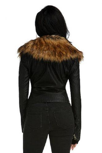 Rapper Nicki Minaj Raccoon Fur Leather Jacket