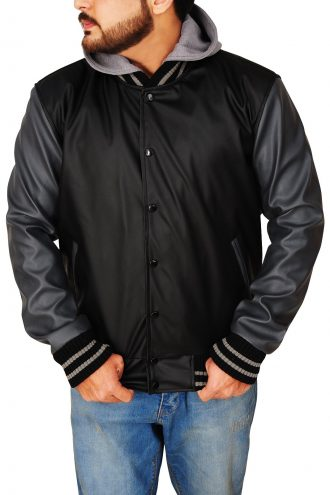 Obey Letterman Hoodie Leather Jacket