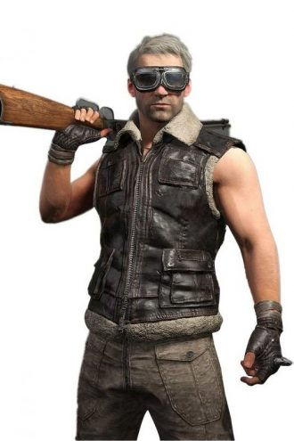 PUBG Moto Biker Fur Leather Vest