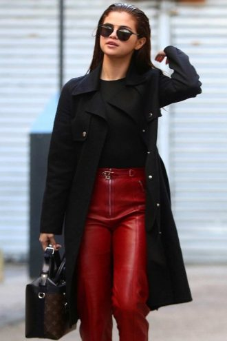 Elegant Selena Gomez Black Wool Coat