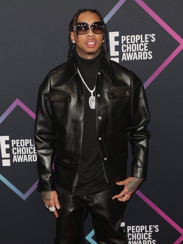 Rapper Tyga Black Leather Jacket
